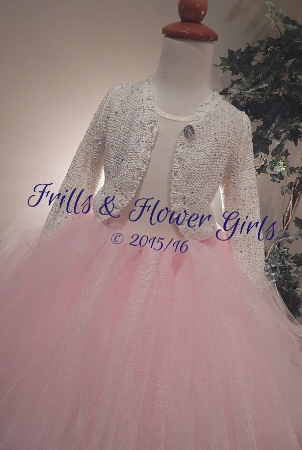Off White or IVORY with Silver Sequins Flower Girl Sweater
