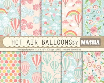 """Balloon digital paper: """"HOT AIR BALLOONS digital papers"""" with balloon patterns, rainbow digital paper, clouds, 10 images, 300 dpi. jpg files"""