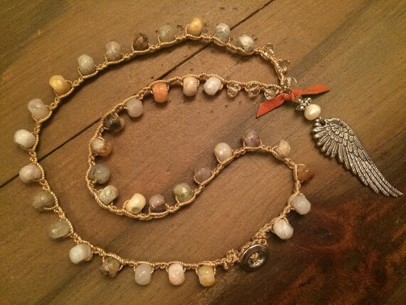 Boho Angel Wing Necklace Crochet Natural Stone Necklace