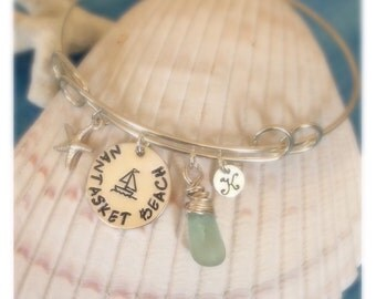 Jersey girl, Beach girl, Beach bum, Beach Haven, Cape May, Cape Cod, Handstamped, Personalized, sterling silver, Bangle Bracelet