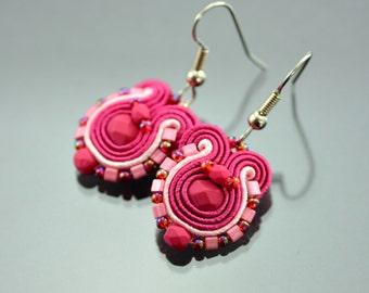 Small Pink Soutache Earrings Humming-bird - Dark Pink Soutache Earrings - Pink Soutache Jewelry - Orecchini Soutache - Small Ethnic Earrings