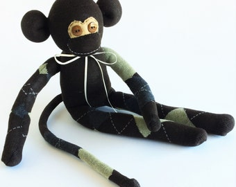 Sock Monkey-Argyle-Brown, Grey, Tan-Handmade-Monkey-Plushie-Plush-Stuffed-Animal-Cuddly