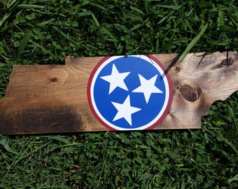 Tennessee flag Wood sign, Tennessee sign, Tennessee state flag, Tennessee home sign, TN shaped sign, Tennessee cutout