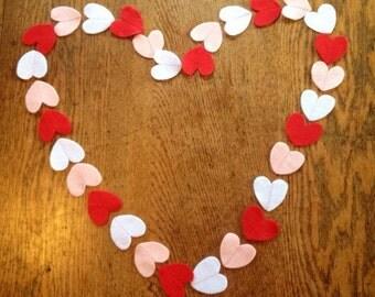Heart garland, felt heart garland, Valentine's Day garland