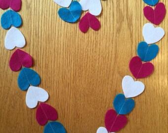 Felt heart garland, Valentine's Day garland, Valetine's Decor, wedding garland, party garland
