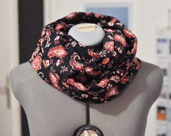 Infinity scarf black scarf patterned red and coral