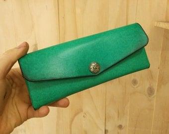 mint pencil case, leather pencilcase,pen pouch, pencil pouch