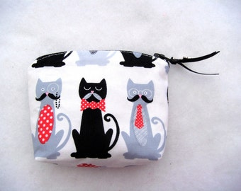 Cat Change Purse Cat Coin Purse 4.7x3.5 in 12x9 cm Black Cat Bag Animal Coin Purse Mustache Coin Purse cotton fabric handmade made in France