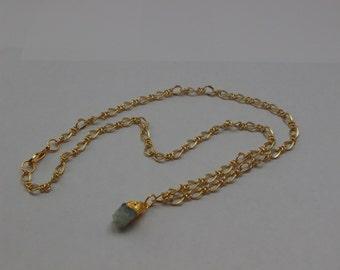 Gold Aquamarine Gemstone Pendant Necklace Gold Plated with Gold Leaf Minimalist Elegance March Birthstone Rough Cut Gem