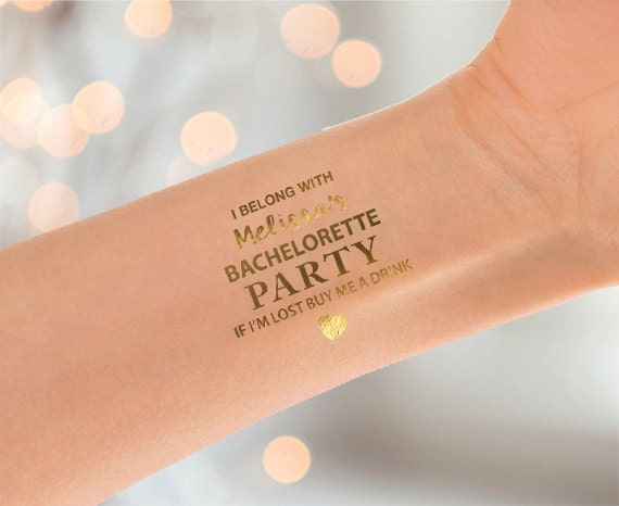 Bachelorette party gold tattoo party favors gold for Bachelorette party tattoos
