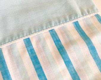 Vintage Blue Stripe Stripes Penneys Twin Flat Top Muslin Sheet Mid Century Fabric