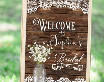 Wedding Welcome Sign, Bridal Shower Welcome Sign, Bridal shower sign Printable, Rustic Welcome Sign, Bridal Shower Decor