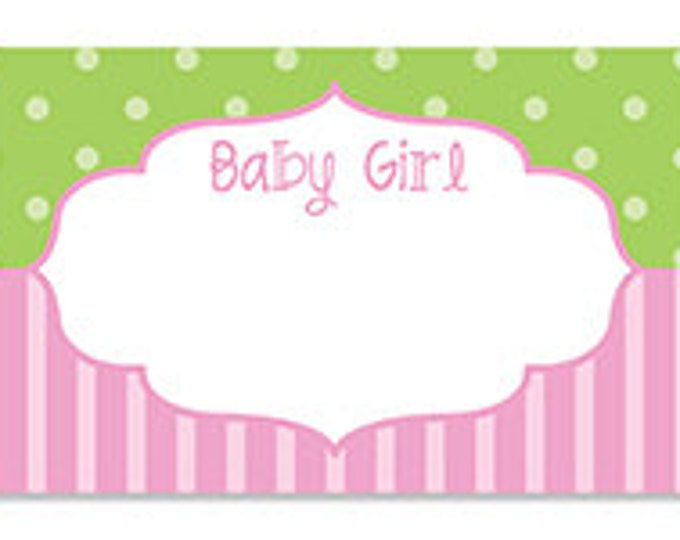 Baby Shower Gift Note Card, It's A Girl Card, Baby Girl Frame Blank Note Card, Gift Card For Baby Shower, Baby Shower For Girl, Pink Card