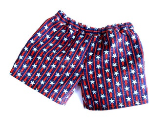 Stars and stripes girl doll shorts sparkly patriotic pull-ons red white and blue