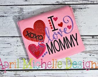 Mommys Girl Shirt, I Love Mommy Shirt, Girls Mommy Embroidered Shirt, Hearts Love Mommy, Moms Girl