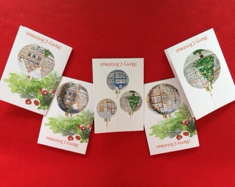 A set of 5 Christmas cards featuring Dutch canal houses