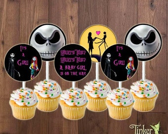 The Nightmare Before Christmas Baby Shower Party Cupcake Toppers - Baby Girl - Digital File -Printable- Jack Skellington It's a Girl Cupcake