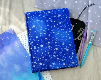 A5 black sheets journal Stars notebook Galaxy journal Cosmos notebook Fabric cover journal Blank book Black pages Fabric journal sketchbook