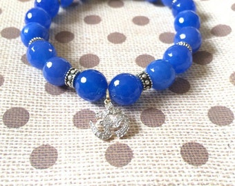 Blue Agate Lava Beaded Bracelet / stretchy bracelet