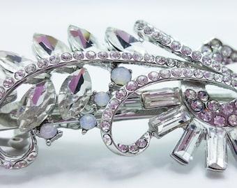New Bridal  Silver & CZ  Rhinestone Floral   3 -1/2'' Hair Barrette Lever Back