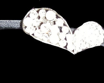 New Silver Heart  Crystal & Rhinestone Metal Head Band