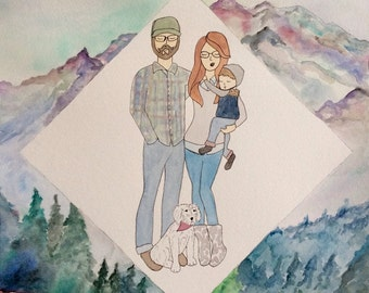1-4 People/Pets Custom Family Portrait Illustration