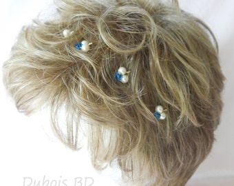 Bridal pearl and Crystal hair pins, Swarovski pearls bobby pins, Something blue, Bridal hairpiece, 7 hair pins set