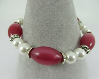 Vintage Moonglow Beads and Cultured Pearl Bracelet