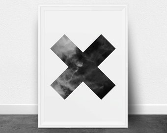 Printable Geometric Art, X Print, Cross Print, Multiply Symbol, Black and White, Abstract Photography, Minimalist, Modern Wall Decor, Clouds