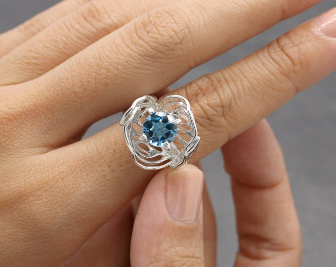 Gilt Laurel Ring, Art Nouveau Ring, 3D printed in sterling silver with Blue Topaz, silver wedding ring, December Birthstone