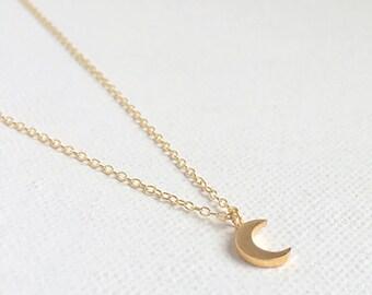 Tiny Crescent Moon Necklace