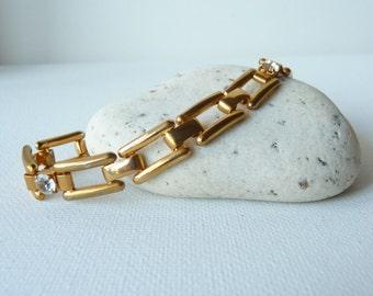 SALE, Vintage Gold Tone Geometric Rhinestone Bracelet, Gold Link Bracelet,Vintage Bracelet,Rectangular Chain,Costume Jewelry, Retro Bracelet