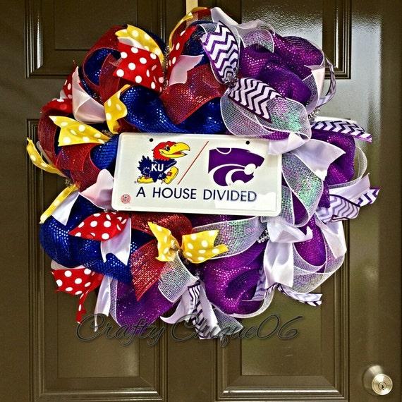 Jayhawks Kstate House Divided Wreath Kansas House Divided