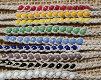 ROYGBIV Braided Beaded Bracelets -friendship, natural,