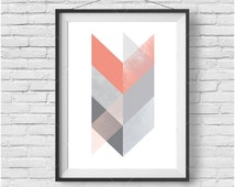 Coral Chevron Print, Coral Art, Minimalist Print, Scandinavian Art, Aztec Print, Tribal Art, Coral Home Decor, Printable Art Digital Print