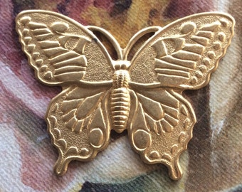 Raw brass butterfly pendant. With 2 holes 5 PC