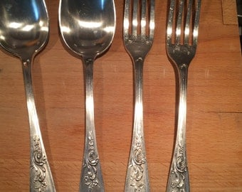 24 piece silver plate Silverware set Flowers Paris, France