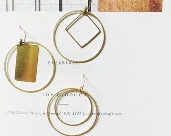 Gold brass stack round long earrings - modern geometry - raw brass dangle - handmade - simple classic - minimalist everyday jewelry