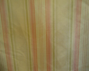 GREAT PRICE, SILK Printed Stripe  Fabric, Lemon, Lime and Coral, Sold by the Yard