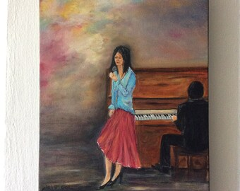 Singer-Beautiful colorful original oil painting on stretched canvas one of a kind,hand made art work