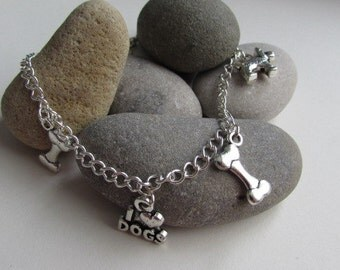 Dog Lovers Gift, Dog Charm Bracelet, Charm Jewelry, Gift For Her, Cute Charm Bracelet, Pet Jewellery, Stocking Fillers