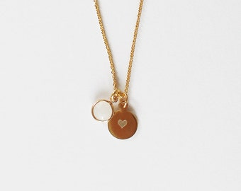 Engraving plates necklace with stone 9mm