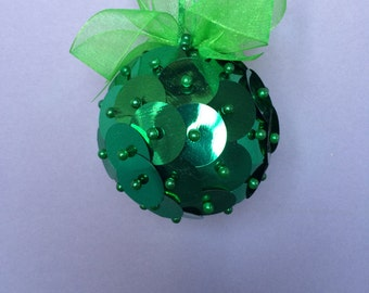 Green Paillette Sequin Christmas Ornament/Handmade