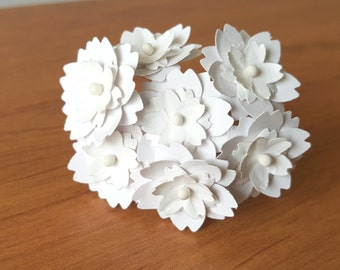 "1"" white paper flowers / white flowers / handmade white flowers / handmade paper flowers / handmade flowers / white artificial flowers"