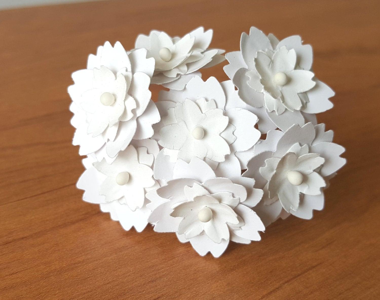 1 white paper flowers / white flowers / handmade white
