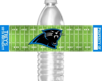 Printable Carolina Panthers Football Birthday Party Water Bottle Labels 16.9 oz Water Party Favors Baby Shower Bar Mitzvah