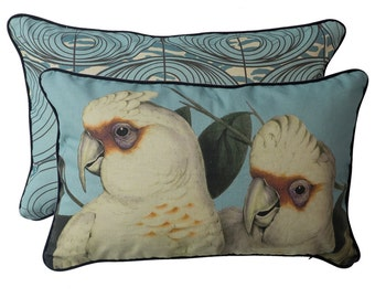 Coral Blue Corellas cushion cover 35cm x55cm