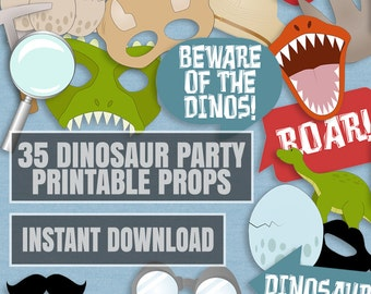 35 Dinosaur Party Photo Booth Props, Dinosaur printable party props, love dinos party, photobooth sign, dinosaur photo prop instant download