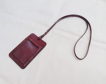 Leather ID Card Holders with Lanyard / Vertical Leather Badge Cover / Leather Card Case for Business