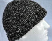 Hand Spun, Hand Knit, Alpaca Winter Hat. Dark Brown and Gray beanie, toque, ski cap, watch cap, winter cap or hat